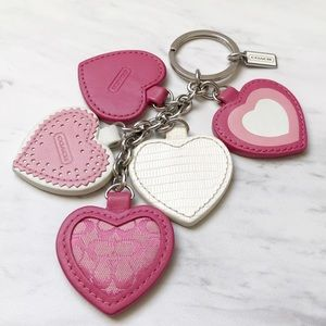 Coach Leather and Signature Fabric Heart Keychain